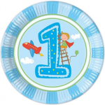 BOY FIRST BDAY PAPER PLATES LARGE 23CM