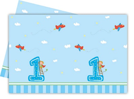 BOY FIRST BDAY PLASTIC TABLECOVER 120X180CM