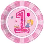 GIRLS FIRST BIRTHDAY PAPER PLATES LARGE 23CM