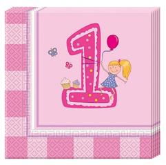 GIRLS FIRST BIRTHDAY 2PLY PAPER NAPKINS 33X33