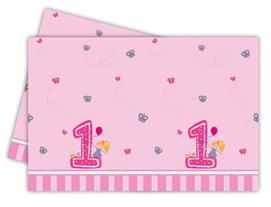 GIRLS FIRST BIRTHDAY PLASTIC TCOVER 120X180CM