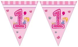 GIRLS FIRST BIRTHDAY TRIANGLE FLAG BANNER