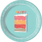 BIRTHDAY CAKE PAPER PLATES LARGE 23CM