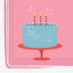 BIRTHDAY CAKE TWO PLY PAPER NAPKINS 33X33CM