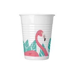 FLAMINGO PLASTIC CUPS 200ML 8CT