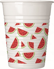 WATERMELON PLASTIC CUPS 200 ML