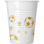 FOOTBALL GOLD PLASTIC CUPS 200ML