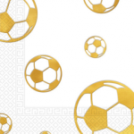 FOOTBALL GOLD EMBOS 3PLY PAPER NAPKNS 33X33CM