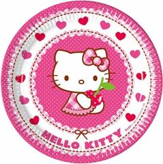 HELLO KITTY HEARTS PAPER PLATES 23CM