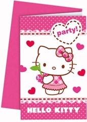 HELLO KITTY HEARTS INVITATIONS & ENVELOPES