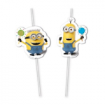 MINIONS BALLOON PARTY MEDAL FLEXI DRINKNG STRW