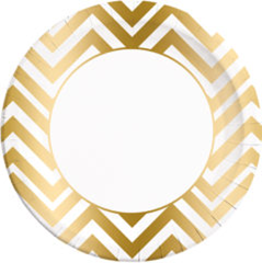 GOLD CHEVRON PAPER PLATES LARGE 23CM