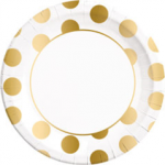 GOLD DOTS PAPER PLATES LARGE 23CM