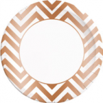 COPPER CHEVRON PAPER PLATES LARGE 23CM