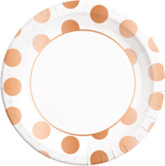 COPPER DOTS PAPER PLATES LARGE 23CM