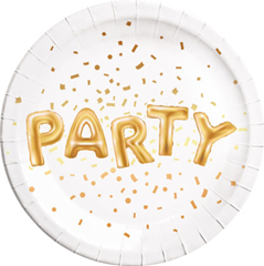 GOLD PARTY PAPER PLATES LARGE 23CM