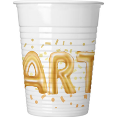 GOLD PARTY PLASTIC CUPS 200ML