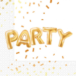 GOLD PARTY TWO PLY PAPER NAPKINS 33X33CM