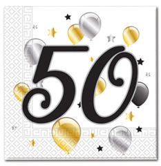 MILESTONE 50 BDAY BALON&STR TWO PLY NPK
