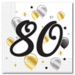 MILESTONE 80 BDAY BALLON & STAR TWO PLY