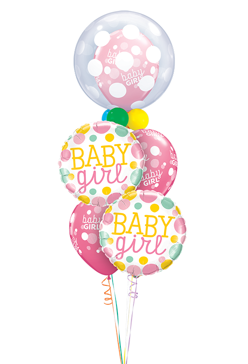 Baby Girl Pink Dots Celebration Staggered