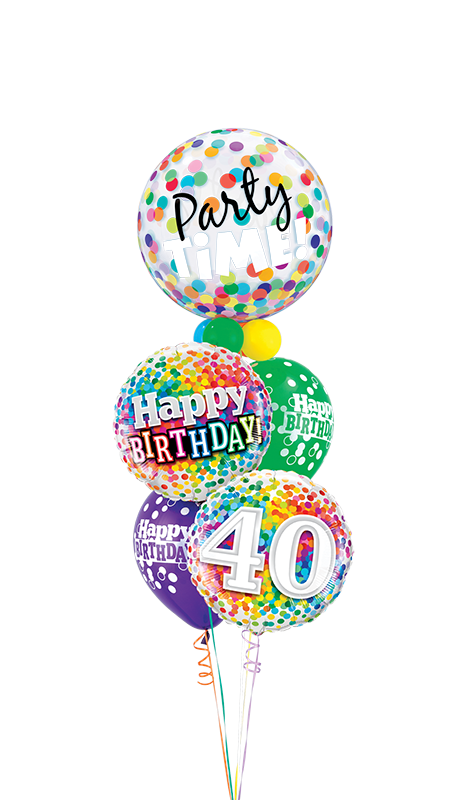 40th Birthday Confetti Bubble Staggered