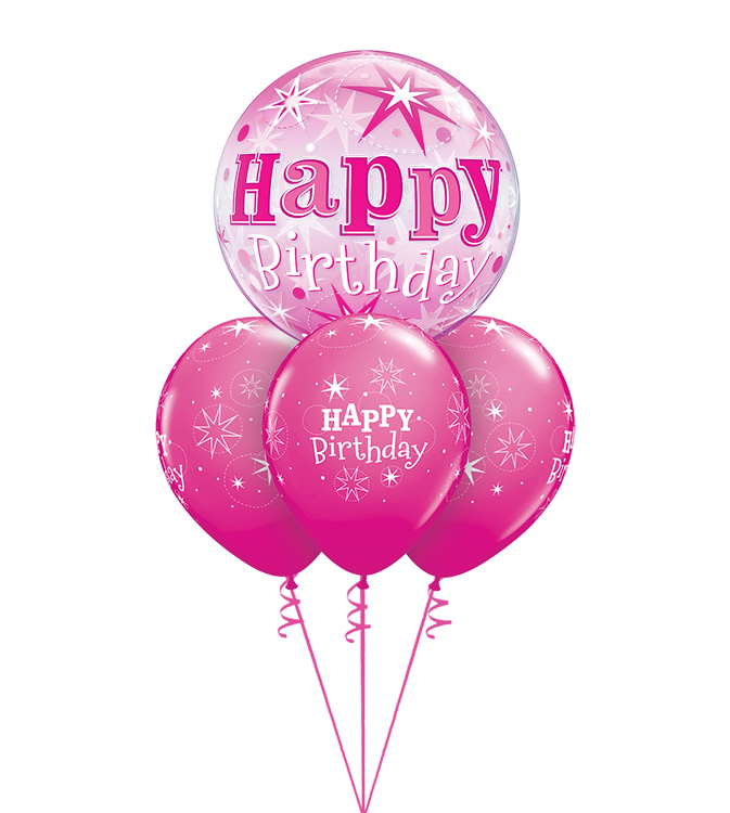 Birthday Pink Sparkle Bubble Layer