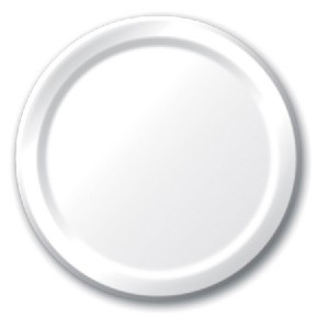 SOLID COLOUR WHITE PLATES 7′