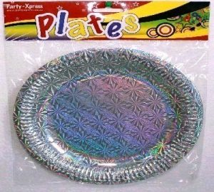 SOLID COLOUR SILVER PLATES HOLOGRAPHIC