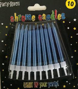 CANDLES CHROME BLUE 10s