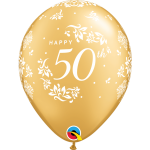 11 INCH LATEX GOLD 50TH ANNIVERSARY