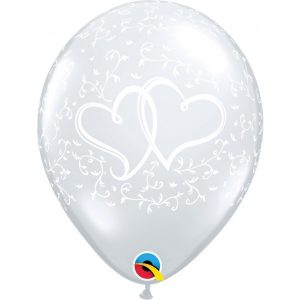 11 INCH LATEX ENTWINED HEARTS DIAMOND CLEAR