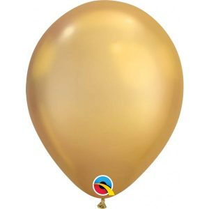 11 INCH LATEX RND CHROME GOLD