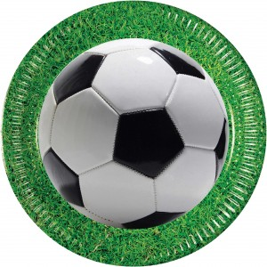 FOOTBALL PARTY PAPER PLATES LARGE 23CM