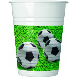 FOOTBALL PARTY PLASTIC CUPS 200ML 8CT