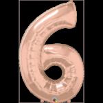 34 INCH FOIL NUMBER 6 ROSE GOLD 1CTP