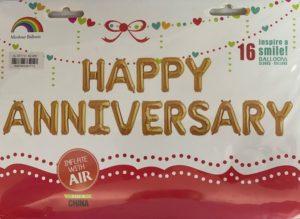 Balloon banner H/Anniversary gold 17inch