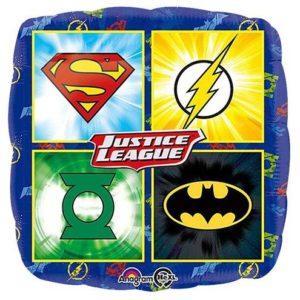 Justice League Emblems Square Balloon – 18″ Foil – Justice League Party