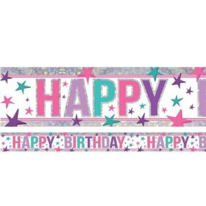 Holographic Happy Birthday Pink Foil Banner – 2.7ms – JoJo Siwa Party Supplies
