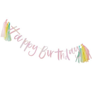 Pastel Party – Happy Birthday Bunting With Tassels