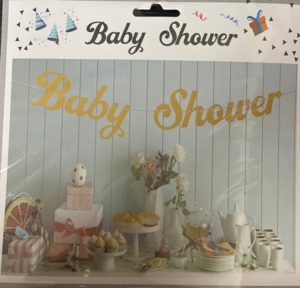 Baby shower banner rose gold