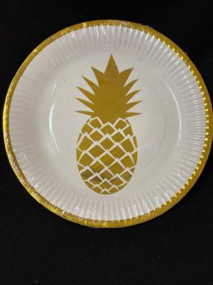 Pineapple plates gold  10pc
