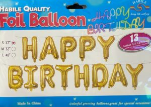 Balloon H/Birthday banner gold