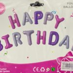 Balloon banner H/Birthday pink/purple 16inch