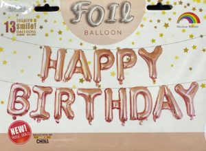 Balloon banner H/Birthday rose gold 17inch