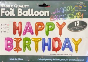 Balloon banner H/Birthday multi color 17inch