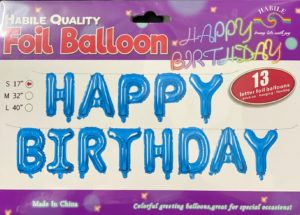 Balloon banner H/Birthday blue 17inch