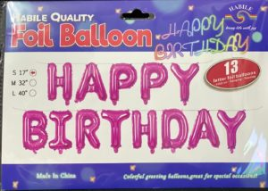Balloon banner H/Birthday pink 17inch