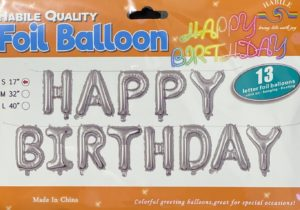 Balloon banner H/Birthday silver 17inch