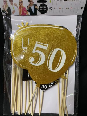 Photo props 50th gold and black